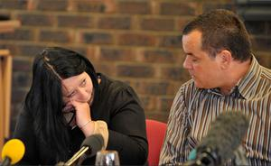 Megan Stammers' mother Danielle Wilson and stepfather Martin Stammers speak to the media at Sussex Police Headquarters