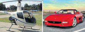The Criminal Assets Bureau (CAB) claimed his helicopter and red Ferrari, similar to those pictured, were bought with the proceeds of crime