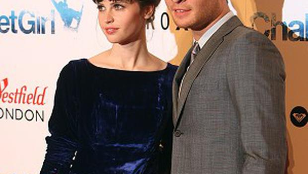 Ed Westwick and Felicity Jones at the premiere of Chalet Girl