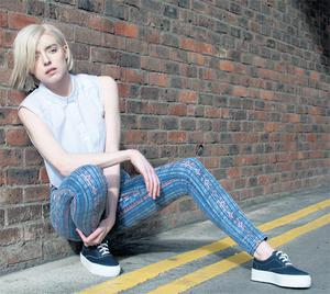 Printed jeans, €60, Warehouse; crop shirt, €40 and shoes, €25, both River Island. Photos: John Scully