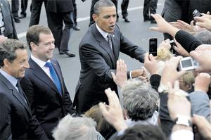 French President Nicolas Sarkozy, Russian President Dmitry Medvedev and US President Barack Obama in Deauville, France, yesterday for the G8 meeting. Photo: Facundo Arrizabalaga