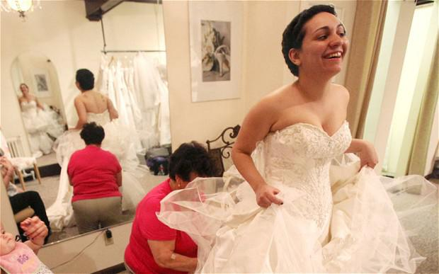 Jessica Vega in April 2010 trying on her wedding dress at Bella Coutre, in Newburg, N.Y.