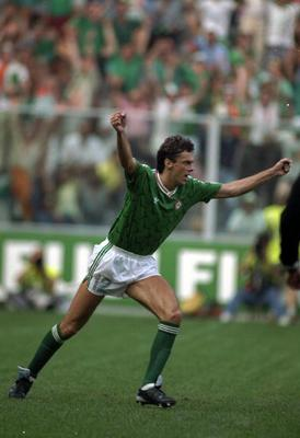 Dave O'Leary buries the ball, and Romania, in that famous shoot-out in Genoa.