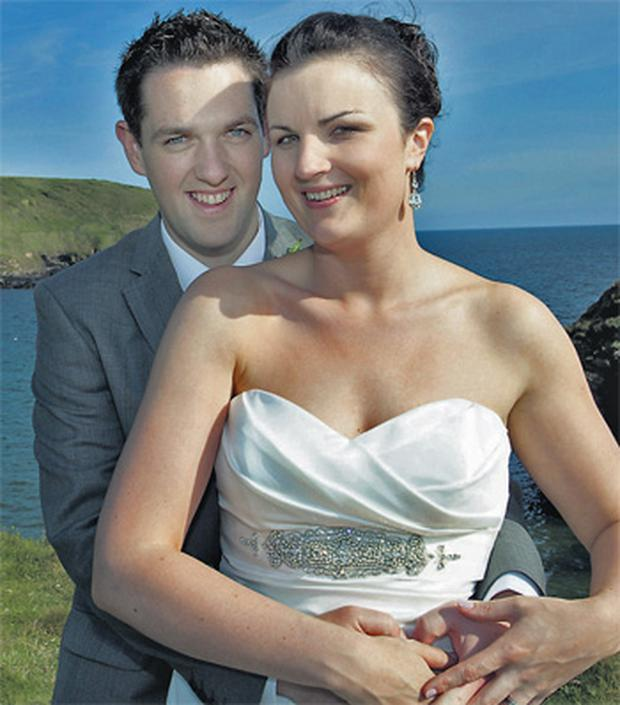 Mary Enright, pictured on her wedding day with husband Pat, was killed in the accident