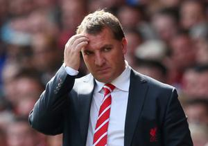 Liverpool manager Brendan Rodgers looks on during the match between Liverpool and  Arsenal at Anfield.