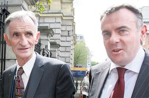 RTE board chairman Tom Savage and RTE director general Noel Curran arriving at Leinster House to meet the Oireachtas Communications Committee last week