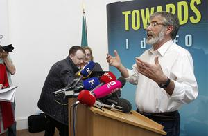 Sinn Fein President Gerry Adams at the party's offices on Parnell Square, Dublin after the Ard Comhairle meeting decided the party has accepted an invitation for Martin McGuinness to meet the Queen in Belfast next week. Photo: PA
