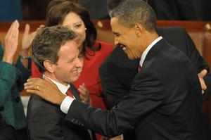 US President Barack Obama greets US Treasury Secretary Tim Geithner following Obama's first State of the Union address at the US Capitol in Washington. Photo: Getty Images