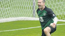 Shay Given shows his delight at pulling off a save during the Irish training session in Gdynia yesterday