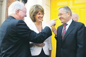 Event chairman Brendan Halligan and Social Protection Minister Joan Burton share a joke with guest speaker Klaus Regling, CEO, European Financial Stability Facility (EFSF) at the Institute of International and European Affairs, North Great Georges St, Dublin, yesterday. Photo: Martin Nolan