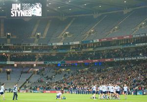A tribute to Jim Stynes is played at the Croke Park after his death