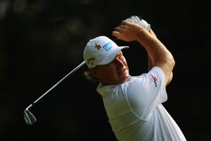 Ernie Els of South Africa tees off on the 3rd hole during the first round of the BMW PGA Championship. Photo: Getty Images