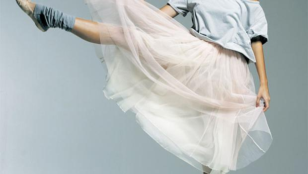 The iconic image of Marilyn Monroe in her ballet-inspired, long tutu dress.