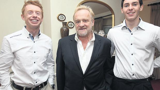Antony Worrall Thompson with Irish Olympians Ger Owens and Scott Flanigan last night. Photo: Tony Gavin