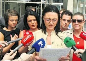 Tammy Jo McCormack with family members speaking to the media outside court yesterday after Aidan Finnegan had been sentenced for killing Dara McCormack