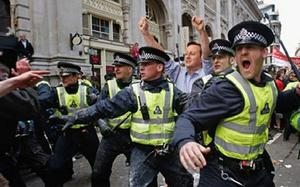 David Cameron at the heart of the London riots from last summer.