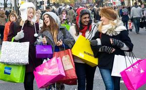 Gathering gifts: shoppers plunder London's Oxford Street. Photo: Getty Images