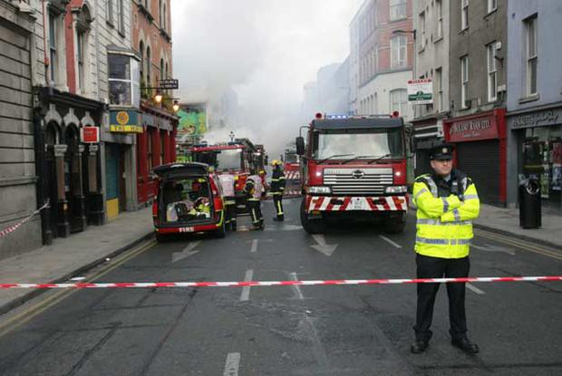 Emergency services at the scene of the blaze at the Nirvana head shop on Capel Street, Dublin. All photos: Gareth Chaney, Collins