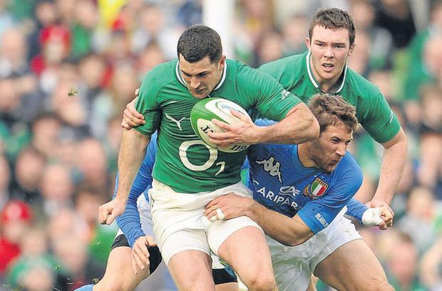 Rob Kearney had four or five counter-attacking sorties against Italy, but they all died when he went to ground
