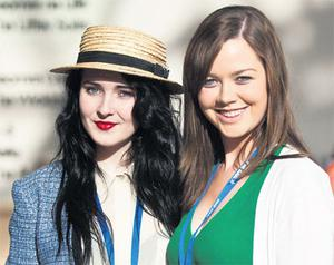 Aine Dempsey and Una Clarke enjoying the 2012 Fine Gael Ard Feis at the National Convention Centre, Dublin.