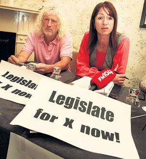 Mick Wallace and Clare Daly at the news conference in advance of the Dail debate this week