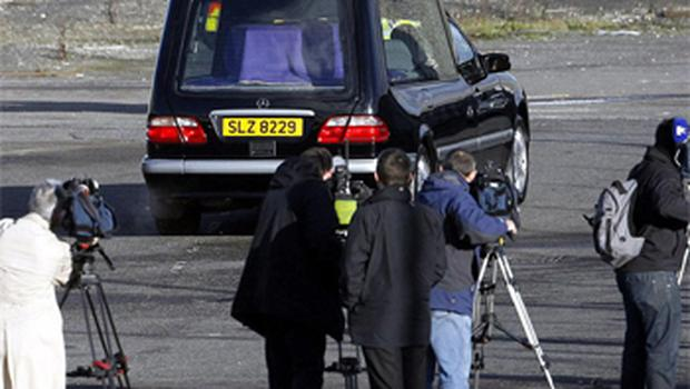 The hearse carrying the body of Michaela Hart, leaves George Best Belfast city airport. Photo: PA