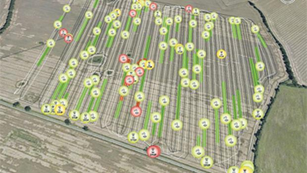 Claas has overlain the combine's travel history in the field into a Google Earth map, and combining this with its Telematics website, graphical data gives a full impression of the combine's progress and efficiency - or lack of it