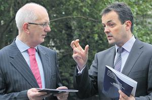 At the launch of the Cloud Computing report were IDA chief executive Barry O'Leary and Microsoft Ireland MD Paul Rellis