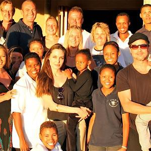 Brad Pitt and Angelina Jolie, with their family and members of the Naankuse Wildlife Sanctuary in Swakopmund, Namibia