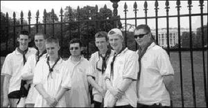 Dundalk Venturer group outside of the White House .  . from left, Allan Matthews, Joseph Hughes, Aidan McGuinness, David Bolton, Christopher Browne, Barry McGuinness, Fintan Sheridan.