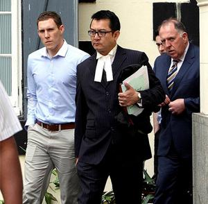 John McAreavey (left), husband of Michaela McAreavey, arrives at the supreme court in Port Louis. Photo: PA