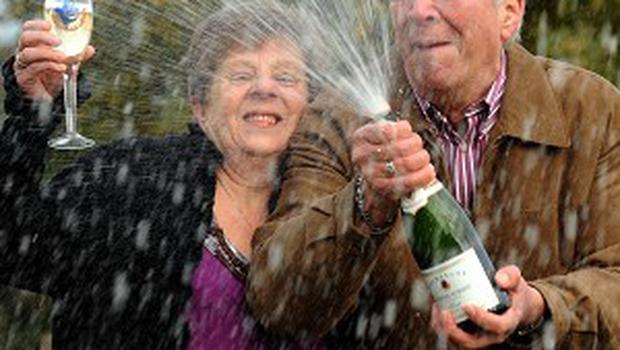 Derek and Sandra Streets celebrate their one million pound lottery win at the Crown Spa Hotel, Scarborough