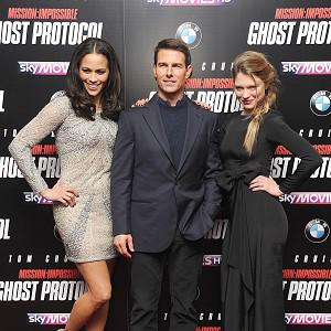 Tom Cruise, flanked by Paula Patton (left) and Lea Seydoux arrives for the UK premiere of Mission:Impossible Ghost Protocol