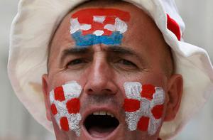 A Croatian supporter shouts