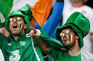 Ireland's team supporters cheer