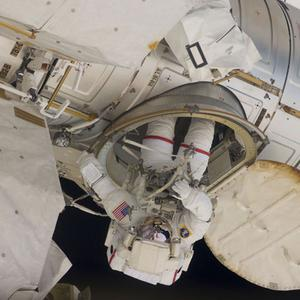 Andrew Feustel pictured during a spacewalk mission from the International Space Station at the weekend. Photo: Reuters