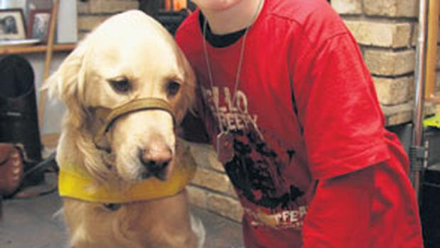 Luke Kelly-Melia (12) and his assistance dog, Aidan, who has been banned from Knocktemple National School in Co Cavan