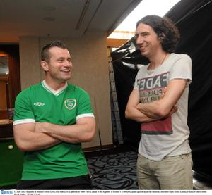 13 June 2012; Republic of Ireland's Shay Given, left, with Gary Lightbody of Snow Patrol, ahead of the Republic of Ireland's EURO2012 game against Spain on Thursday. Sheraton Sopot Hotel, Gdynia, Poland. Picture credit: David Maher / SPORTSFILE