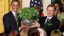 Enda Kenny presents US president Barack Obama with the traditional bowl of shamrock at the White House late last night