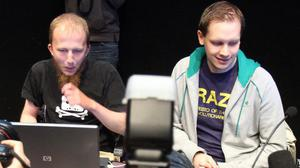 Gottfrid Svartholm Varg (C) and Peter Sundin (R) from The Pirate Bay pictured at a press conference in February (FREDRIK PERSSON/AFP/Getty Images)