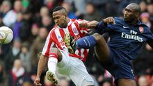 Stoke City's Ricardo Fuller, who scored twice, battles for the ball with Sol Campbell (right) on the defender's return to the Arsenal side during yesterday's FA Cup tie Photo: Getty Images