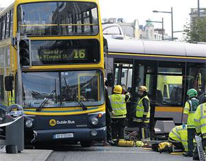 The scene on O'Connell Street, Dublin, on September 16, 2009, following the crash between the tram and the bus.