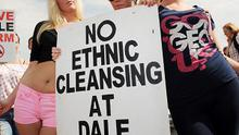 Travellers from Dale Farm in Essex protest against their forced eviction from their site by Basildon Council