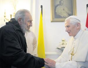 The Pope meets Fidel Castro during his visit to Cuba