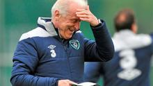 Giovanni Trapattoni gathers his thoughts during the Irish training session at Malahide yesterday ahead of Saturday's Euro 2012 qualifier against Macedonia in Skopje
