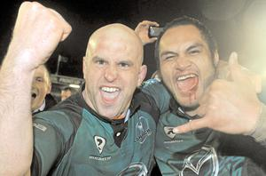 Connacht players Adrian Flavin, left, and George Naoupu, celebrate their win over Harlequins which, as well as some fine signings, has given them hope for the future