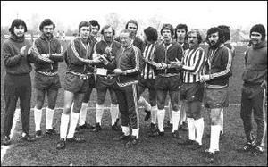 Sligo Rovers League Championship winning squad of 1977 making a special presentation to James Tiernan in recognition of his work with the team.