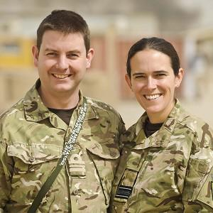 Newlywed couple Squadron Leader Rachel Mawdsley, 35 and Lieutenant Commander Gareth Mawdsley, 32, together at Camp Bastion