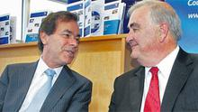 Justice Minister Alan Shatter, left, with Chief Justice John Murray during the presentation of the annual report of the Court Service in Dublin yesterday