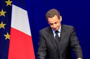 French President and UMP candidate Nicolas Sarkozy speaks at his campaign headquarters after the first round of French presidential elections. Photo: Reuters